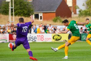 Alan Browne fires Preston in front against Chorley at Victory Park