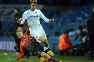 Patrick Bamford, who had Leeds United's best chance to score against Manchester United.