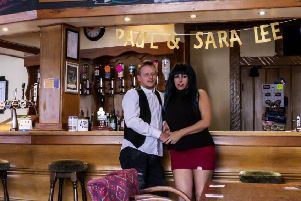 Paul Steven and Sara-Lee Burton at The White Swan pub in Pleasley.