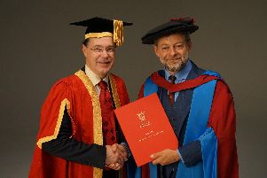 Andy Serkis received his honorary doctorate of letters from Lancaster university VC Mark E Smith