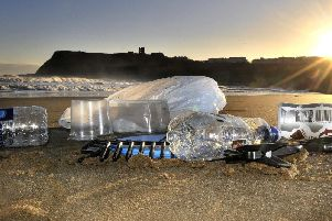 Litter on the beach at Scarborough.