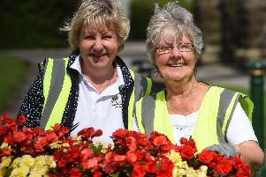 Jo Coleran and Jean Wadsworth in Garstang during the visit of Britain in Bloom judges