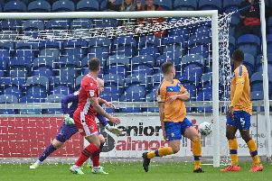 Action from Stags' 2-2 draw with Morecambe.