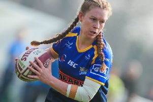 Leeds Rhinos player of the match, Tasha Gaines, scored a hat-trick in the 52-0 win over Featherstone Rovers. PIC: Alex Whitehead/SWpix.com