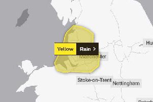 The yellow weather warning covers the whole of Lancashire.