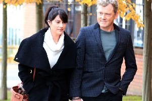 Emmerdale actor Mark Jordon, 53, who plays Daz Spencer, with his partner. Credit: Peter Byrne/PA Wire