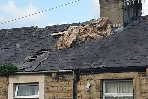Police are dealing with an ongoing incident involving a man on a roof in Alexandra Road, Lancaster. Photo by Caaren Outram.