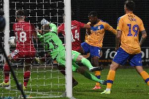 Action from Mansfield v Morecambe on Tuesday.