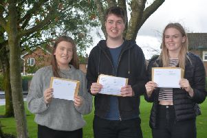 Students at Carr Hill celebrate their A Level results.