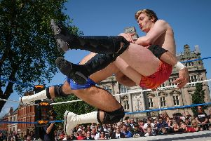 Preston City Wrestling outdoor wrestling show on the Flag Market