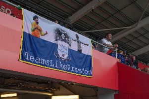A PNE flag in the away end at the Liberty Stadium