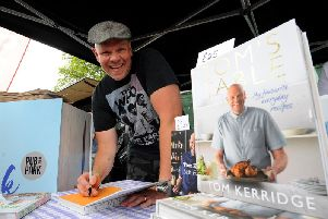 Chef Tom Kerridge signs his book at Pub in the Park, Roundhay Park, Leeds. Picture by Simon Hulme.