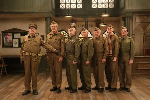 Kevin McNally as Captain Mainwaring, Robert Bathurst as Sergeant Wilson, Kevin Eldon as Lance Corporal Jones, David Hayman as Private Frazer, Timothy West as Private Godfrey, Tom Rosenthal as Private Pike and Mathew Horne as Private Walker. Picture: UKTV