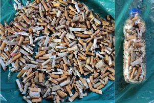 Some of the cigarette ends collected during one day in Filey. PIC: Wendy Knipe