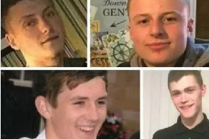 The faces of the victims: (top left to botom right) Declan Grove, Matt Walshaw, Brandon Frew, Caelan Megson.