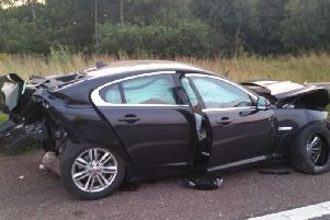 One of the vehicles involved (Lancs Road Police)