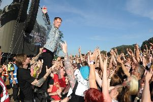 Leeds Festival Day1..Frank Carter and the rattlesnakes  jumps in the crowd..23rd August 2019.Picture by Simon Hulme