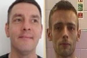 Christopher Stevenson, 38 (left) and Eric Keogh, 31, are wanted after absconding from HMP Kirkham yesterday (August 28)