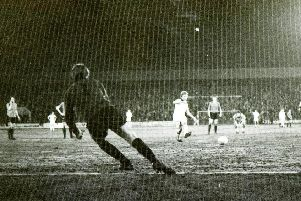 Alex Bruce scores from the penalty spot against Colchester in 1978