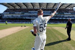 Thank you: Ashes hero Ben Stokes salutes the fans in the new Emerald Stand at Headingley. (Picture: Getty Images)
