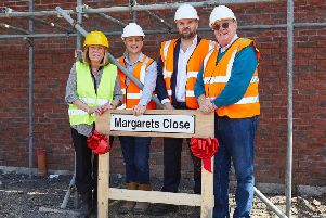 LEFT TO RIGHT: Margaret Clough, Stephen Drewitt, Steven Clough and Gerry Clough at the site of the Margaret's Close development