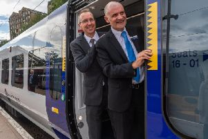 Ben Still, Managing Director of West Yorkshire Combined Authority, along with Steve Hopkinson, Regional Director at Northern celebrate the launch of the new Northern trains, which will be operating between Leeds-Bradford-Ilkley and Skipton from the 9th of next month. Pic: James Hardisty
