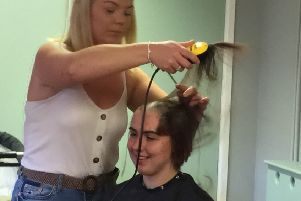 Alisha Potter during the head shave.