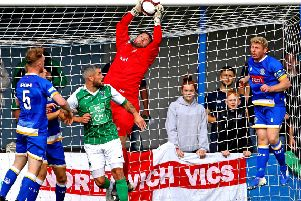 Busy afternoon for Lancaster City keeper Sam Ashton. Picture: Tony North.