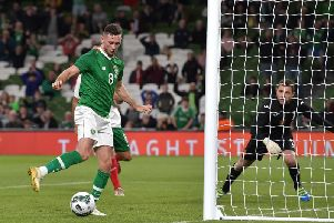Alan Browne scores for the Republic of Ireland against Bulgaria