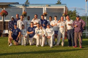 Kimberley celebrate their title success. They will receive the championship trophy after this Saturday's game at Hucknall. (Photo: Kimberley Institute CC)