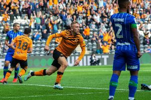 Jarrod Bowen, centre, wheels away in celebration after equalising Wigan's early opener in a game that would ultimately end in frustration for Hull City. (Picture: Bruce Rollinson)