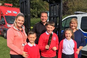 School children learn about the dangers of knife crime.