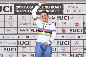Picture by Allan McKenzie/SWpix.com - 12/09/2019 - Sport - Cycling - UCI Para Cycling Road World Championships 2019 - Emmen, Netherlands - Great Britain's Dame Sarah Storey takes the Rainbow Jersey in the WC5 time trial.