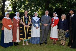 Chair of Bassetlaw District Council, Coun Deborah Merryweather with Sir John Peace, Lord Lieutenant of Nottinghamshire and Lady Peace.