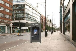 How Infocus say the new phone boxes will look in the city centre.