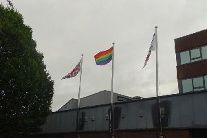 Flying the Rainbow Flag at South Ribble Council Civic Centre to coincide with Preston Pride 2019