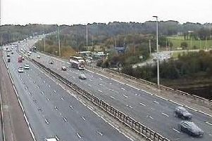A lane has been closed on the M6 southbound near Preston after a lorry burst its tyre this afternoon (October 22). Pic: Highways England