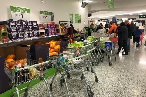 The scene at Asda in Fulwood this afternoon
