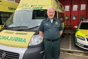 Mick pictured this week outside Preston Ambulance Station