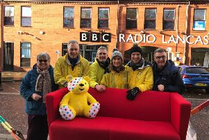 Presenters set off on the Pudsey Push for BBC Children in Need from BBC Lancashire HQ, heading toward Preston. Pic: BBC
