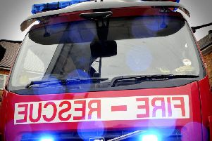 Two fire crews are at the scene on the M61
