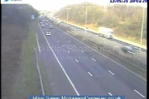 The M6 northbound has been reduced to 1 lane between junctions 27 (Standish) and 26 (Orrell) following a crash this afternoon (January 10)