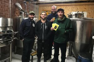 Fom left to right are Adam Godwin (Plug & Taps), Ryan Hayes (Chain House Brewing), Joseph Purcell and Philip Moss (Secret Meeting co-founders).
