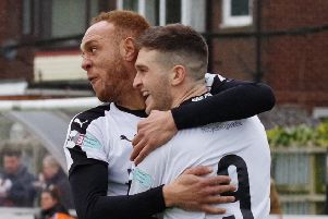 Matt Dudley, right, is congratulated by Richie Allen after opening the scoring last Saturday (photo: Ruth Hornby)