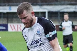 Chris Marlow was on target fot Brig in the 9-0 win over Prestwich Heys (Photo: Ruth Hornby)
