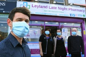 Staff at Leyland Late Night Pharmacy are wearing face masks and gloves, as a precaution against coronavirus. Pictured: Richard Snape, Kate Catterall, Danni Daly and Liam Kitchen