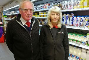 David and Margaret Brindle, pictured last year at their Costcutter store on School Lane