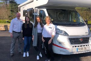 Glen, Charlotte, Katie and Cindy Campbell with one of their motorhomes.