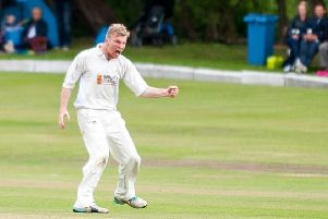 Anthony Farran 12.07.2015 Lowerhouse CC v Burnley CC, Worsley Cup semi-final played at Lowerhouse CC, Pictured; Burnley Bowler Chris Holt and Lowerhouse Batter Charlie Cottam.