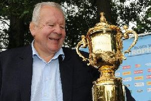 Sir Bill Beaumont with the Rugby World Cup